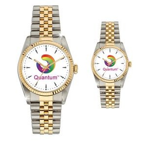 His or Hers 2 Tone Metal Band Watch with Crystal Dial
